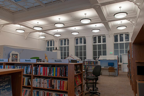 Lighting design for Hastings Library, The Brassey Institute